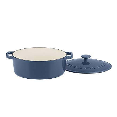 Cuisinart Chef 's Classic emailierten Gusseisen 5-1/2-quart Oval Schmortopf mit Deckel, edelstahl, Provencal Blue, 5-1/2-Quart