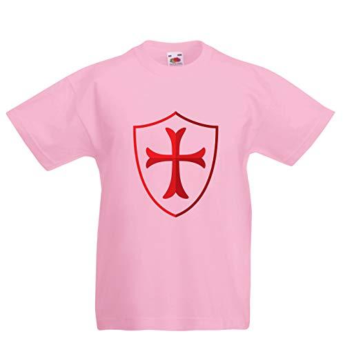 lepni.me Kinder Jungen/Mädchen T-Shirt Die Tempelritter Schild, Rotes Kreuz, Christlicher Ritterorden (5-6 Years Pink Mehrfarben)