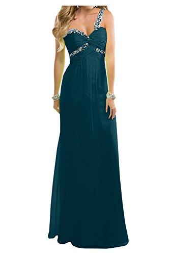 TOSKANA BRAUT Lieblich Empire Chiffon Abendkleider Lang Brautjungfern Party Ballkleider Abendmode Tinte Blau