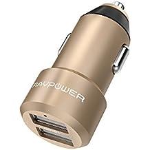Extra-Mini Alluminio Caricabatterie Auto RAVPower a 2 Porte, 24W / 4.8A, Caricatore USB Universale con Tecnologia iSmart per iPhone, iPad, Smartphone Samsung Galaxy, Huawei, LG, Nexus, TomTom, ecc. -Oro