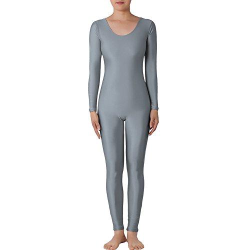 (Muka Catsuit / Bodysuit, Rundhalsausschnitt, mit langen Ärmeln, Lycra, Zentai, Tanzkleidung Gr. XXL, grau)