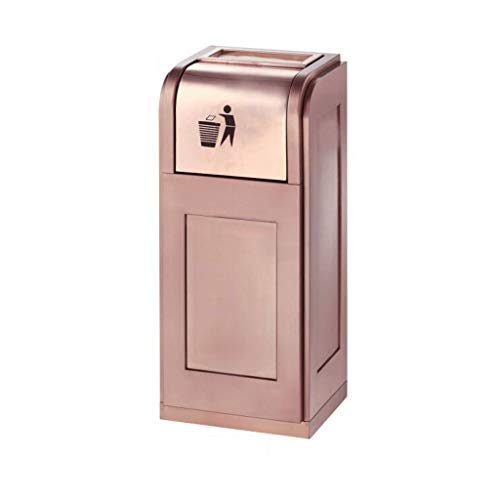 Mülleimer for den Außenbereich Stehender Aschenbecher Vertikaler Mülleimer aus Edelstahl Push-Abfallrecycling Mülleimer (Color : Rose Gold) (60 Kuchen-deckel Gold)