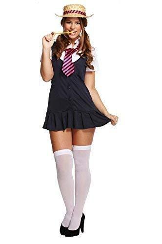 4 Stück Erwachsene Damen Sexy St Trinians Schulmädchen Kostüm Kleid Outfit mit Hut STD &Übergröße - Übergröße 44-50 (St Trinians Kostüme)