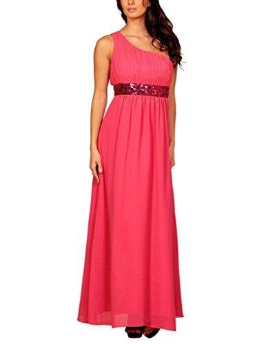 My Evening Dress Femmes Une épaule Longueur de Plancher Robe de Soirée Rose Chaud