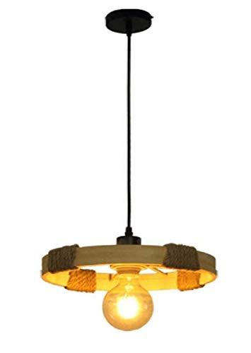 Kronleuchter Deckenleuchte Led-Lichtkronleuchter Lampe Retro Bambus Kunst Ringer Loft Industriellen Stil Restaurant Licht Tischlampe Wifi Karte Sitzlampe, D33 * H5Cm [Energieklasse A ++]