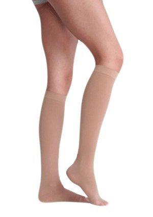 40 Mmhg Oberschenkel Hohe (Juzo Medi Plus Oberschenkel hohe W/Taille Befestigung 30–40mmHg Petite Zehenöffnung linken Bein)