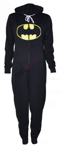 ((Womens Black Batman Hooded Onesie) (in STY) Frauen Schwarz Batman Onesie (M, (Black) schwarz))