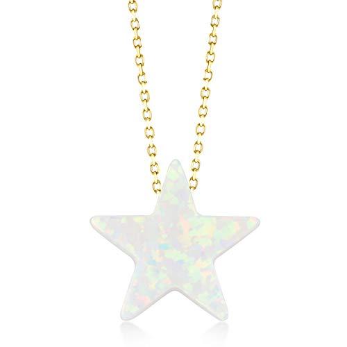 Gelin Damen Gold Kette aus 14 Karat - 585 Echt Halskette Gelbgold mit anhänger Pentagramme Opal Stein Sterne - Kette 45cm