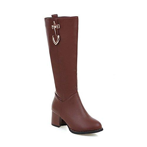AalarDom Damen Mitte-Spitze Ziehen auf Weiches Material Hoher Absatz Rund Zehe Stiefel, Rot, 37