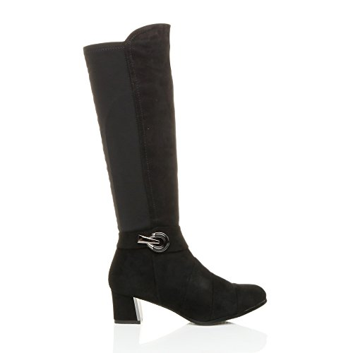 Femmes moyen évasé talon carré élastique boucle couches bottes mollet pointure Daim noir