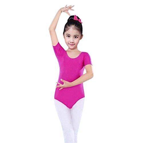 Mädchen Kinderkleidung,BeikoardKindertag GeschenkKleinkind Mädchen Baby Trikots Ballett Playsuit Dancewear Gymnastik klassische Outfits Volltonfarbe Rundhals Kurzarm enge Trainingsbekleidung (100, RoseRot)