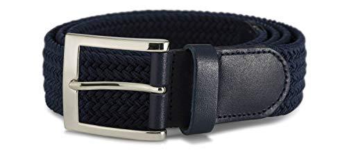 Streeze 35 mm Stretchgürtel geflochtener, elastischer, gewebter Gürtel mit Silberschnalle, ideal für Jeans, 6 Größen: Small - 3XL (Marine, L)