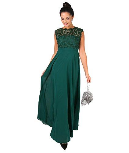 KRISP Crochet Lace Chiffon Maxi Dress (2409-DKGRN-L) - Stretch-spitze-lange Kleid