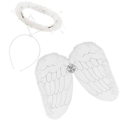 Kostüm Engel Göttliche - German Trendseller® Heiliges - Engels - Kostüm Set - Deluxe ┃ Heiligenschein + Engelsflügel ┃ Weiß ┃ Amor ┃ Engel Set