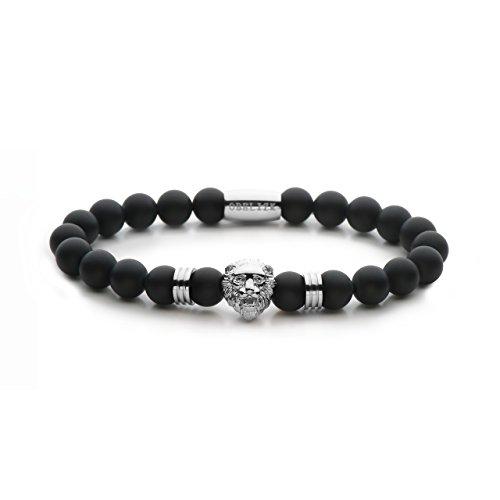Obelizk Lion Series - Silver Black Onyx Matte Herrenarmband - Größe L