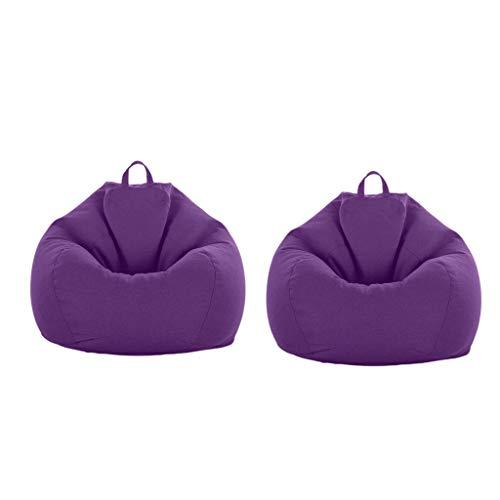 B Blesiya 2pcs XXL Große Sitzsack Bezug Bean Bag Sessel Sitzkissen Bezüge Cover - Lila