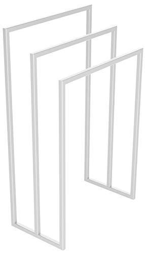HOLZBRINK Metall Handtuchhalter für Badezimmer Kleiderständer Freistehender Handtuchständer mit 3 Stangen, Verkehrsweiss, 90x60x30 cm (HxBxT), HLMH-02B-90-60-9016 -