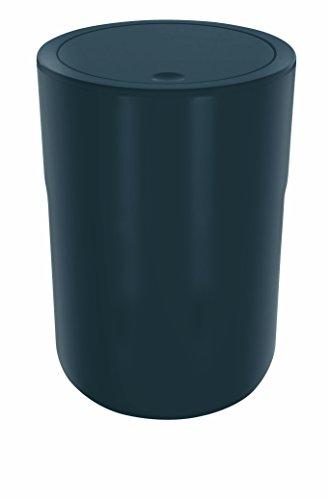 """Spirella Design Kosmetikeimer \""""Cocco\"""" mit Extra Ring für Müllbeutel Treteimer Schwingdeckeleimer Abfallbehälter mit Schwingdeckel 5 Liter (ØxH): 19 x 26 cm Dunkelgrau"""