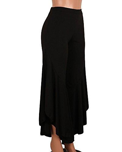 Donne A Vita Alta Tinta Unita Irregolare Elegante Sciolto Casuale Gamba Larga Pantaloni Nero