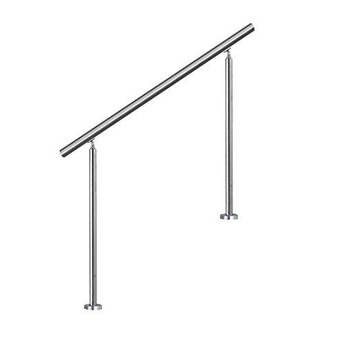 SAILUN® Edelstahl Handlauf Geländer mit 2 Pfosten für Brüstung Treppen Balkon (100 cm, ohne Querstreben)