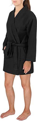 Damen Morgenmantel Baumwoll-Kimono mit Waffelpique - Öko Tex 100 - Premium Qualität Farbe Schwarz Größe M