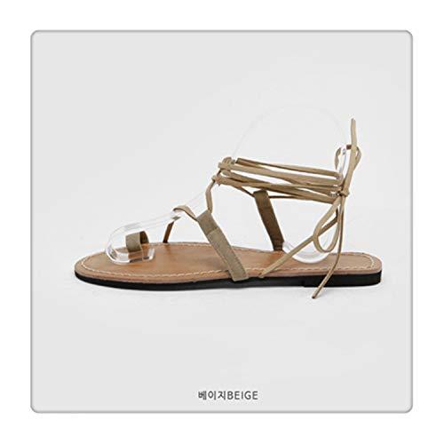 2a93392a1bd25b Sandals Women's Strap Summer Flat Fairy Wind Bohemian Folding Beach Seaside  Vacation Roman Tie Khaki Ziggpattern