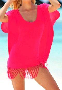Frauen Chiffon-Bluse Bikini Cover Up Quaste Rundhals Batwing Loose Fit Einfarbig Tuell Bluse Tops Sommer Sonnenschutz Slipover Rot