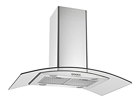 Cookology ILD900GL Island Chimney Cooker Hood 90cm | Curved Glass in Stainess Steel