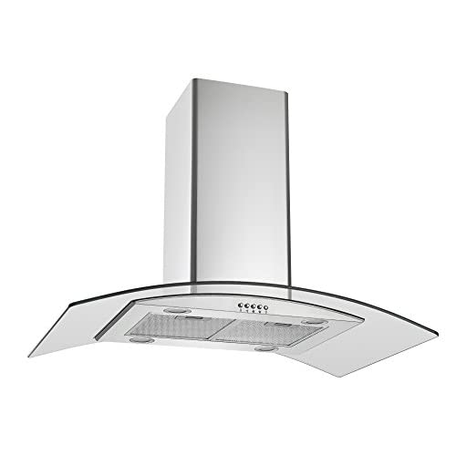 310od Am99L. SS500  - Cookology ILD900GL Island Chimney Cooker Hood 90cm | Curved Glass in Stainess Steel