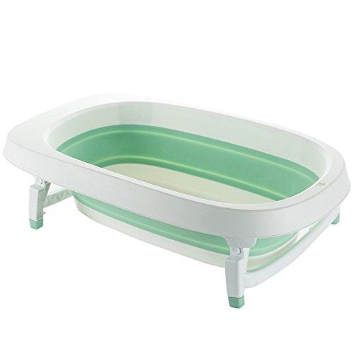 JZM Baby-Falt-Bad Kinder-Bad Kann Sitzen Liegen Universal Newborn Baby Badewanne Groß,Green (Falt-wand-sitz)