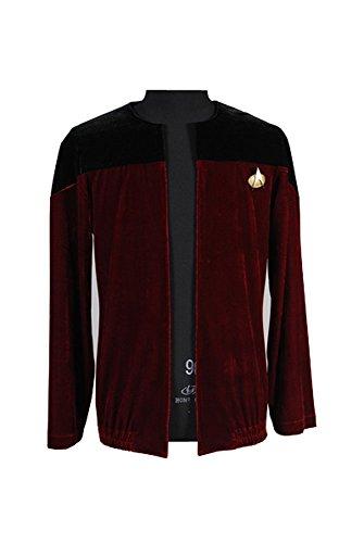 Star Trek Picard Schwarz Rot Samt Jacke Cosplay Kostüm Herren (Voyager Star Kostüme Trek)