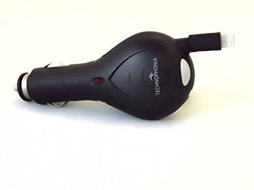 TECHNOPHONIA Carica Batteria Da Auto con cavo retraibile per iPhone5, IPhone6, iPhone7- iPhone8