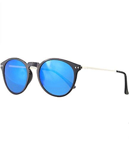 Caripe Retro Sonnenbrille Vintage Panto Damen Herren Holz-Optik Metallbügel verspiegelt + getönt - 139 (0088 - schwarz - blau verspiegelt)