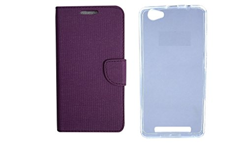 Colorcase Flip Cover Case for Reliance Jio Lyf Wind 1 with Back Cover (Combo Set)