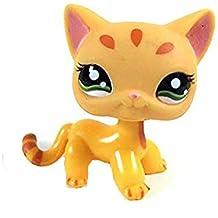 Mamum Gatito de Juguete,Rare Littlest Pet Shop Cream Tan Brown Pelo Corto Gato Corazón