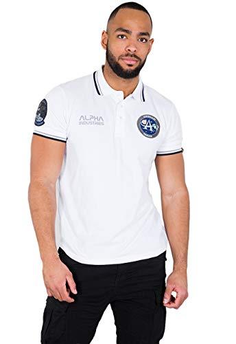 Alpha Industries Herren Poloshirt Moon Landing Polo (XL, White) - Firma Logo-polo-shirts