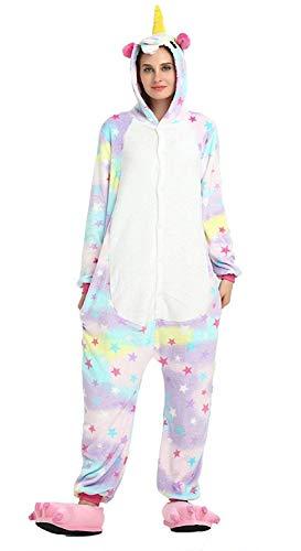 Regenboghorn Unisex Einhorn kostüme, Schlafanzug, Pyjama,für das Halloween ,Karneval und Weihnachten mit der Kapuze (XL(175-185CM), (Sterne Weihnachts Kostüm)