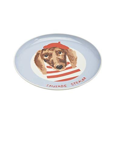 Joules Einzelporzella-bedruckte Seitenplatte s/19 Blue Dog One Size -