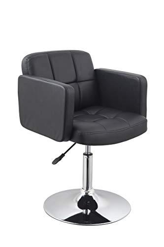 Duhome Elegant Lifestyle Clubsessel Sessel Kunstleder SCHWARZ Esszimmerstuhl Lounge Sessel höhenverstellbar drehbar Farbauswahl - Typ 524A