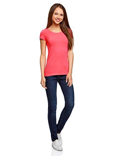 oodji Ultra Donna T-Shirt Basic Aderente Senza Etichetta (Pacco di 2) Rosa (4D00N)