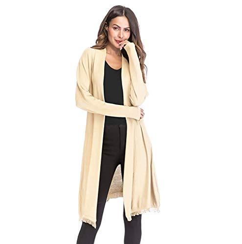 WXJ Manteau en tricot à glands en dégradé uni pour femmes en automne et à manches longues mince/Beige/Xl