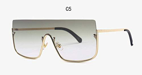 CNSP Brillen,Vintage Sonnenbrillen,Brand Fashion Women New Oversized Sunglasses Men 2019 Square Half Frame Sunglasses Women Eyewear Trend,C5
