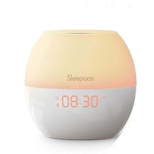 WSXG Intelligente drahtlose Bluetooth-Sprecher-LED-Anzeige genießen Schlaf-Wachlicht-Zeit simulierte Sonnenaufgang-Bunte Licht-Ausgangsgeschenke -