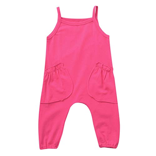 JUTOO Sommer Kleinkind Neugeborenen Kinder Baby Jungen Mädchen Einfarbig Spielanzug Overall Kleidung (Hot Pink,90)