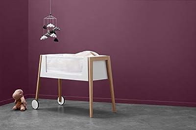 Linea Side-by-Side Bett, cama auxiliar con colchón y nido, patas de: haya + 3 cajas en color marrón