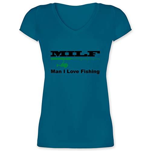Angeln - Milf Man I Love Fishing - XS - Türkis - XO1525 - Damen T-Shirt mit V-Ausschnitt