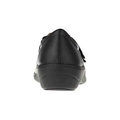 tessamino Damen Orthopädie Halbschuh aus Leder, mit Klettverschluss, Weite H, für Einlagen Schwarz