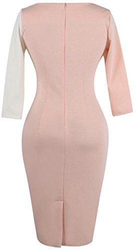YOGLY Damen Abendkleid Elegant V-Ausschnitt Kleid Spitzen 3/4 Arm Wickelkleid Cocktailkleid Pink