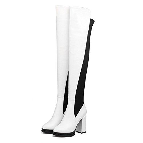 AgooLar Damen Blend-Materialien Hoher Absatz Gemischte Farbe Hoch-Spitze Ziehen Auf Stiefel Weiß