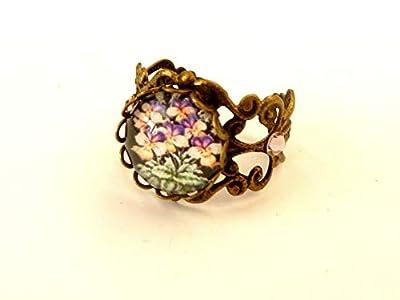 Bague en filigrane avec motif pensée bronze violet